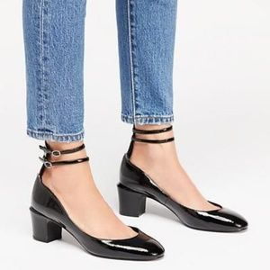 NEW Free People Lana Block Heel Patent Leather 37